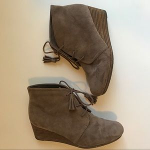 Dr. Scholl's Brown Suede Wedge Booties Size 7.5